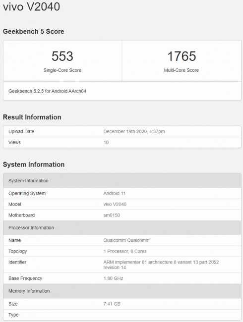 GeekBench Vivo V20 2021