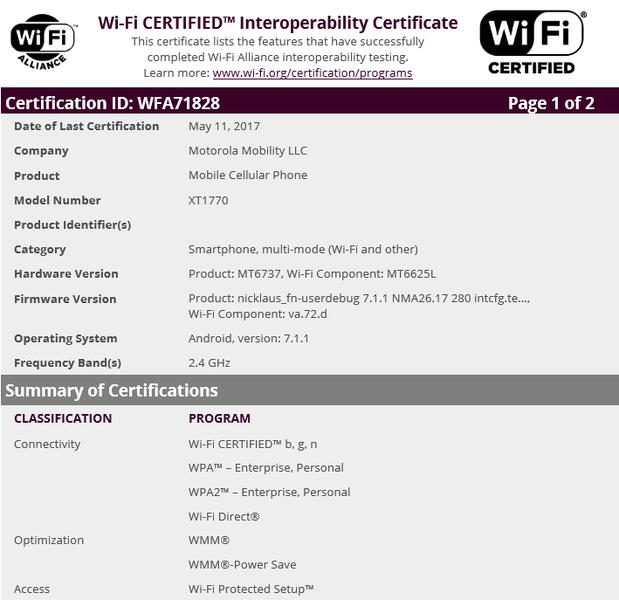 Семь бюджетных смартфонов Moto с чипом МТ6737 прошли сертификацию в Wi-Fi Alliance – фото 2