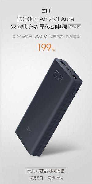 Xiaomi выпустила внешний аккумулятор ZMI Aura на 20000 мАч – фото 1