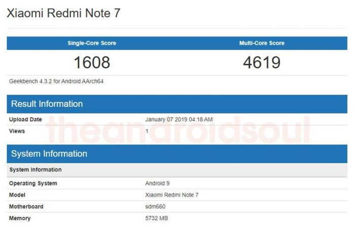 Смартфон Xiaomi Redmi Note 7 замечен в бенчмарке и, возможно, на видео – фото 1