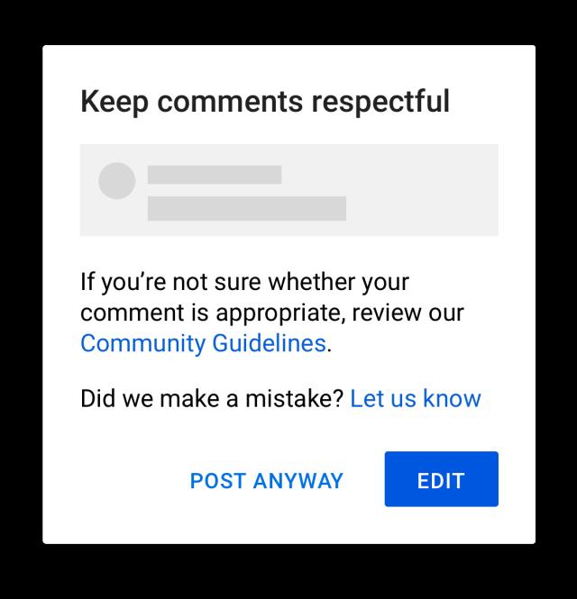 Всплывающее окно перед комментарием