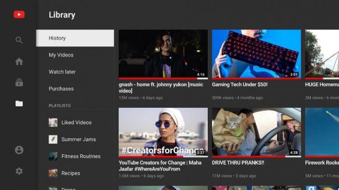 Прошлая версия YouTube Android TV
