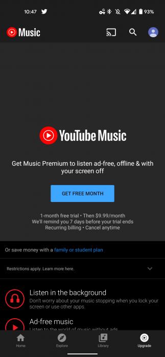 YouTube Music подписка 2
