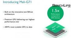 Видеоускоритель Mali-G71 на 40% мощнее, на 20% энергоэффективнее, чем Mali-T880 и сможет конкурировать с видеокартами ноутбуков среднего уровня