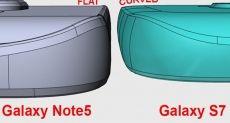 Samsung Galaxy S7 в сравнении с дизайном лицевой панели Galaxy Note 5 и Galaxy S6