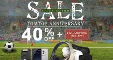 Распродажи в честь 12-летия интернет-магазина TomTop.com и праздничный купон на скидку $12